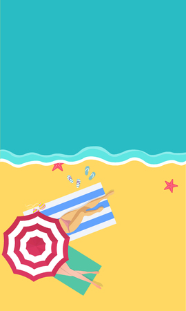 the beach scene from the top in summer.vector illustration with paper art style