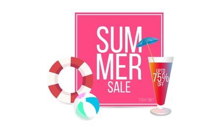 Summer Sale banner design. Vector illustration template.