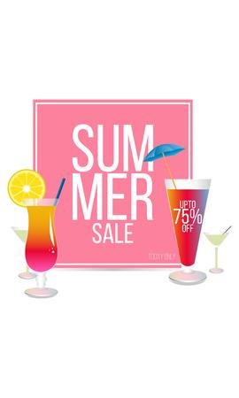 Summer sale design, Hot summer sale template banner Ilustração