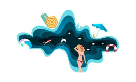 Paper cut and craft style beach and sea. Summer holiday concept template
