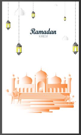 Ramadan Kareem greeting background Islamic vector design. Arabic calligraphy