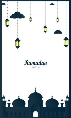 Ramadan Kareem Greeting Background. Vector Illustration for greeting card, poster and banner. Ilustração