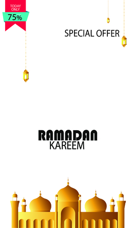 Creative colorful Sticker, Tag or Label with discount upto 75% off for Muslim Community Festival, Eid Mubarak, Ramadan Kareem celebration
