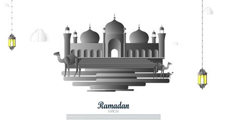 beautiful ramadan kareem greeting card design, Ramadan Kareem greeting with mosque background