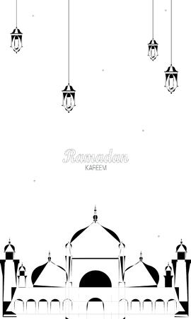 Illustration of Ramadan Kareem with Arabic lamp for the celebration of Muslim community festival