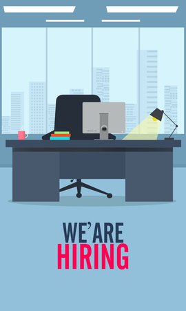 We're hiring. Vector flat illustration background. - Vector Workplace with a computer Imagens - 125819630