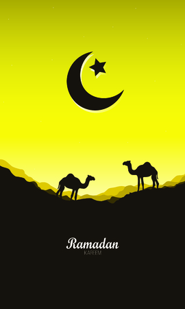Ramadan Mubarak Arabic Islamic vector typography - Translation of text Ramadan Mubarak Islamic celebration