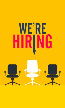 We're hiring. Vector flat illustration on yellow background.