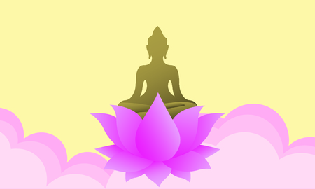 Happy Vesak day with Buddha lotus flower sign and Radius of light on yellow brown background