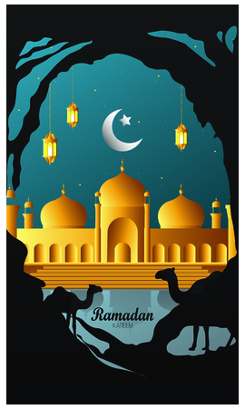 Ramadan Kareem beautiful greeting card with islamic background Imagens - 125819644