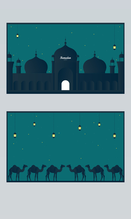 Abstract Ramadan Kareem decorative banners set vector
