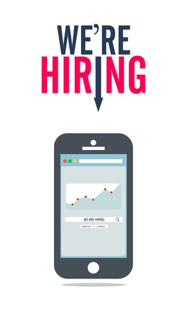 Were Hiring Searching Concept Template Mobile Phone Design Ilustracja