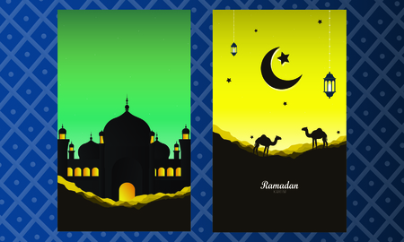 Abstract Ramadan Kareem decorative banners set vector Imagens - 125819657