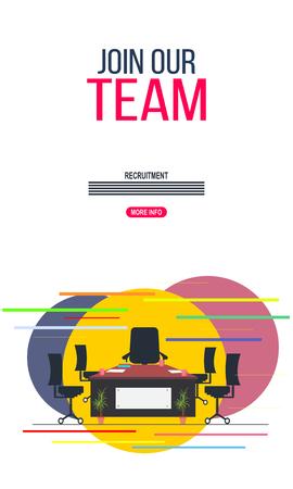 Wir stellen ein, werden Sie Teil unseres Teams. Illustration und Design von Einstellungs- und Einstellungskonzepten. Casual Business-Team, das im Büro arbeitet. Vektorgrafik