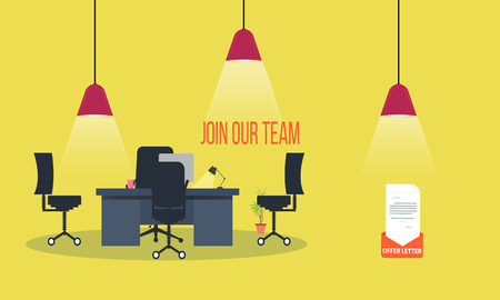 join our team concept with Office interior modern flat vector illustration.