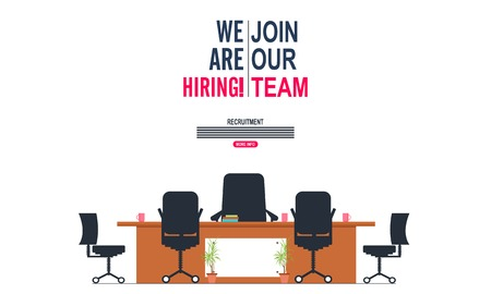 Were hiring and join our team concept with Office interior modern flat vector illustration. Business table with computer monitor and chair. Ilustração