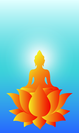Buddha Purnima wishes vector illustration with buddha and lotus flower. - Vector