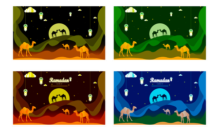 Abstract Ramadan Kareem decorative banners set vector - Vector