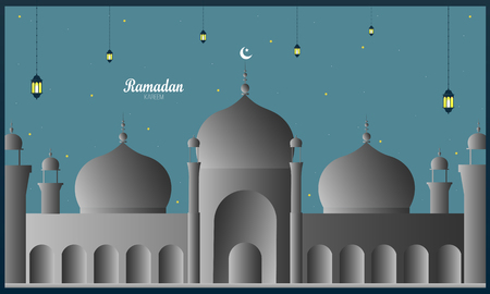 Ramadan Kareem concept banner with islamic geometric patterns. Paper cut designs on dark background.