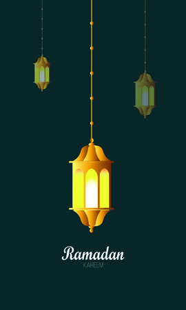 Ramadan kareem poster, arabic calligraphy with hanging ramadan lanterns and crescent element
