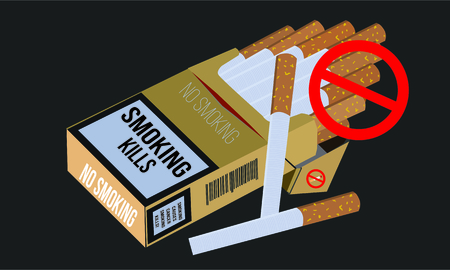 Illustration of concept No smoking and World No Tobacco Day, Paper cut style. Ilustração