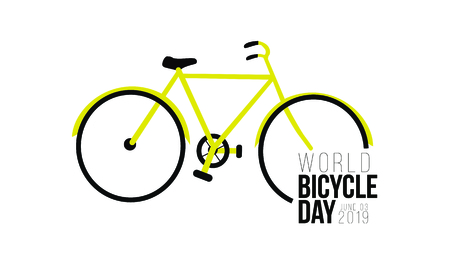 Illustration of world bicycle Day design for banner, greeting cards.