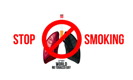 Illustration of concept No smoking and World No Tobacco Day. Ilustração