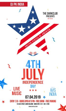 Modern 4th of July grunge flyer template, Creative Invitation Card design with Text 4th of July