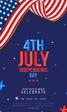 Sale or party Poster, Banner, Flyer, Creative vector illustration for 4th of July