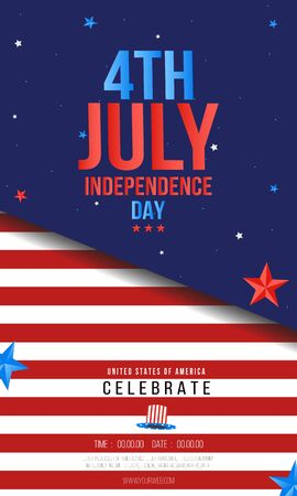 Independence day USA sale or party banner template. 4th of July celebration poster template