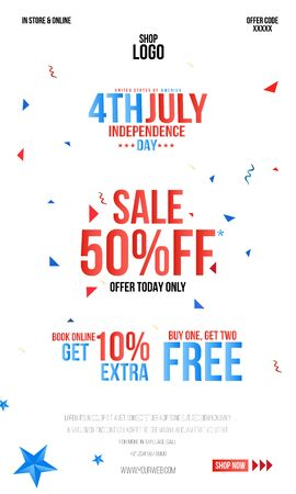 4th Of July USA Independence Day Sale Promotion Background, Poster, Banner, social Media