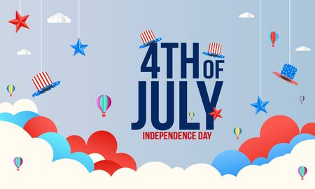 4th of July, United Stated independence day greeting cards. Fourth of July typographic design. Ilustração