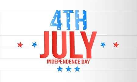 American Independence Day lettering design. A template background for greeting cards, posters Ilustração