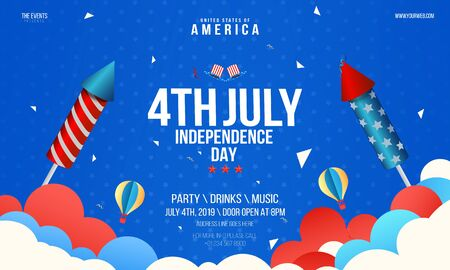 independence day flyer party with confetti, stars, rockets