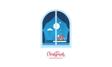 Merry Christmas and Happy New Year. Christmas window view with Santa Claus Imagens - 125819721
