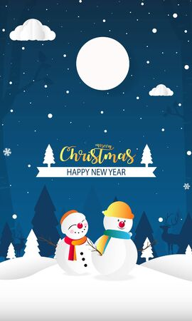 Merry Christmas and Happy New Year with snow man background