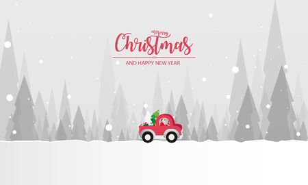 illustration of paper art Santa Claus is riding Red Classic pickup truck