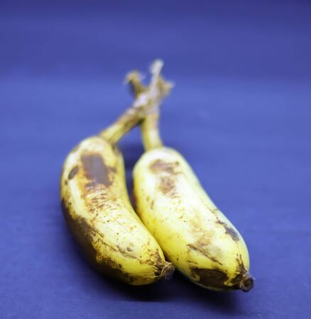 Ripe yellow bananas fruits, bunch of ripe bananas with dark spots on a white backgrounds