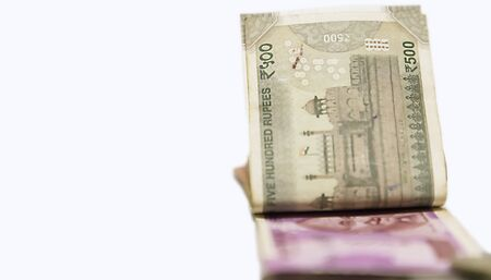Indian 500, 2000 rupee notes, Indian currency note Folded on white background