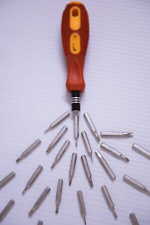 A electrical screwdriver isolated background.