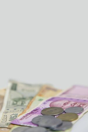 Closeup of brand new colorful Indian currency bank notes