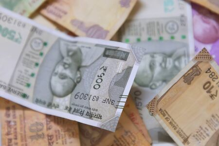 closeup Indian currency bank notes of 500 and 2000 rupees Stock fotó
