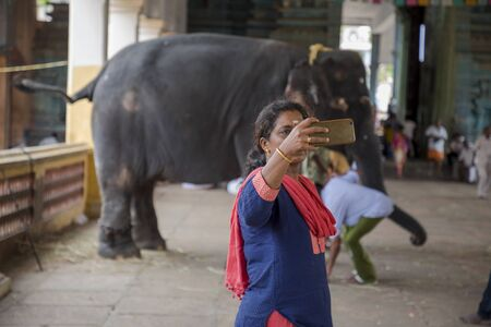 People Take Selfie With Elephant in south asian temple