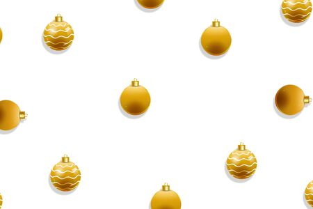 Christmas baubles golden seamless pattern.