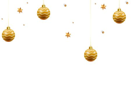 Christmas balls, holiday gifts with golden bow on white background.