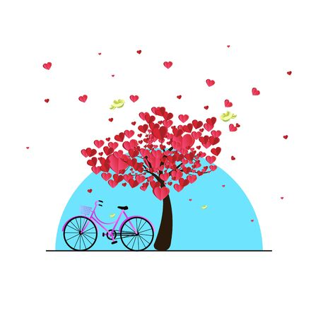 illustration of love and valentine day, bike and a tree made out of hearts.