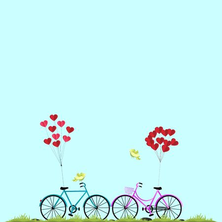 Illustration of happy lovers day or valentine day, balloon heart shape hang the pink bicycle. Illustration