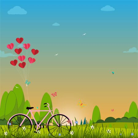 Illustration of happy valentine day, balloon heart shape hang the bicycle.