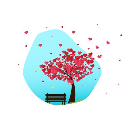 illustration of love and valentine day, paper art and digital craft style.