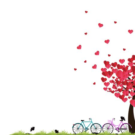 Valentine's day background with a bike and a tree made out of hearts.